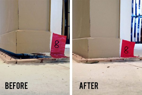 Before and After Interior Slab Repair